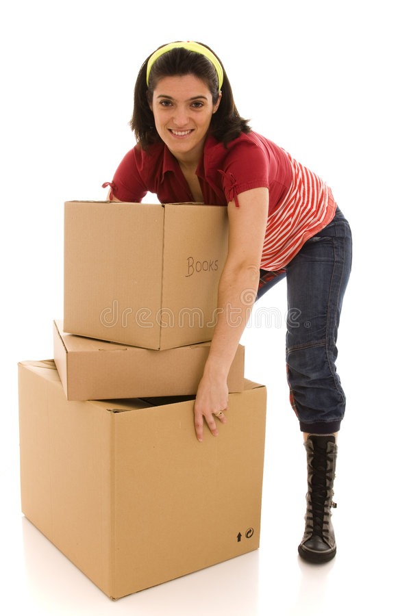 Packages for house moving stock photos