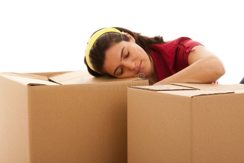 Packages for house moving stock images