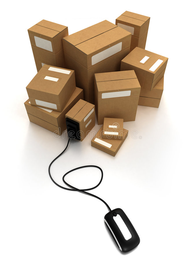 Packages With Mouse Stock Photo
