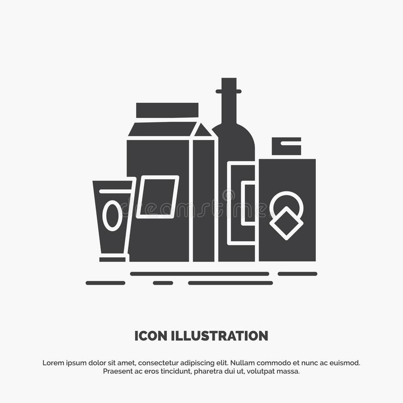 packaging, Branding, marketing, product, bottle Icon. glyph vector gray symbol for UI and UX, website or mobile application royalty free illustration