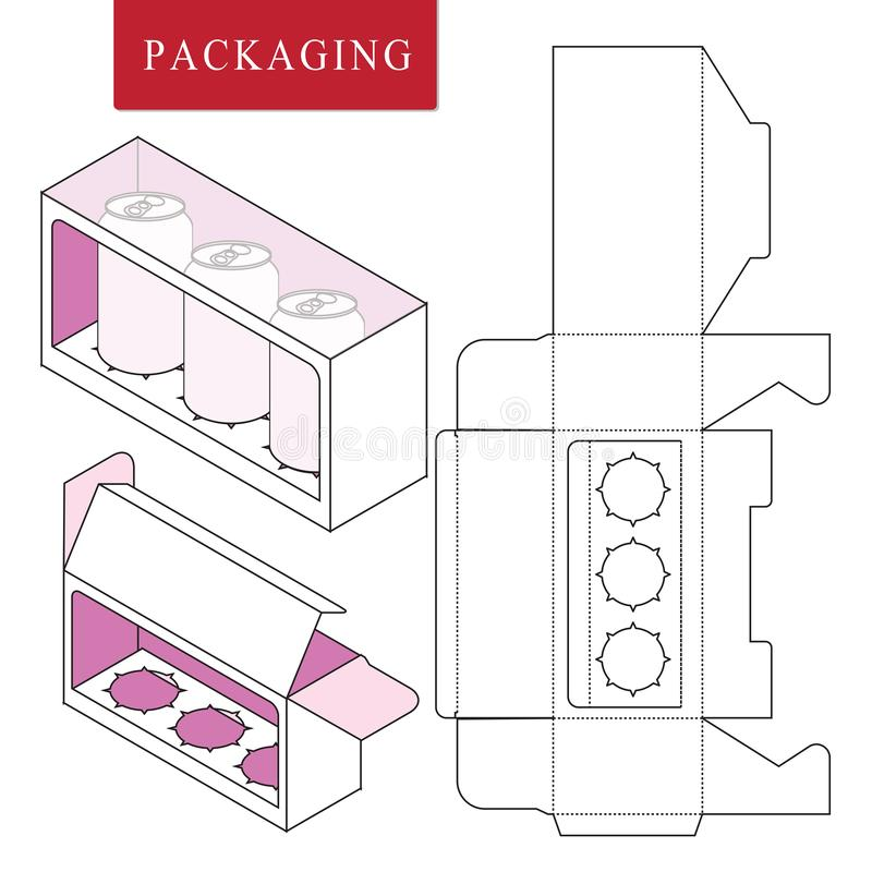 Packaging for can bottle.Isolated White Retail Mock up.Vector Illustration of Box. vector illustration
