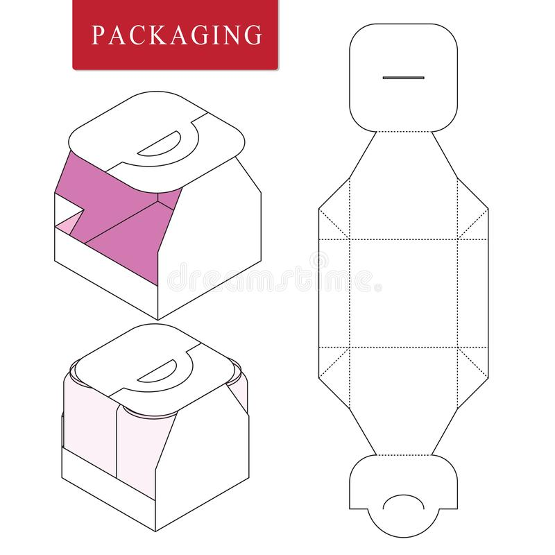 Packaging for can bottle.Isolated White Retail Mock up.Vector Illustration of Box. royalty free illustration