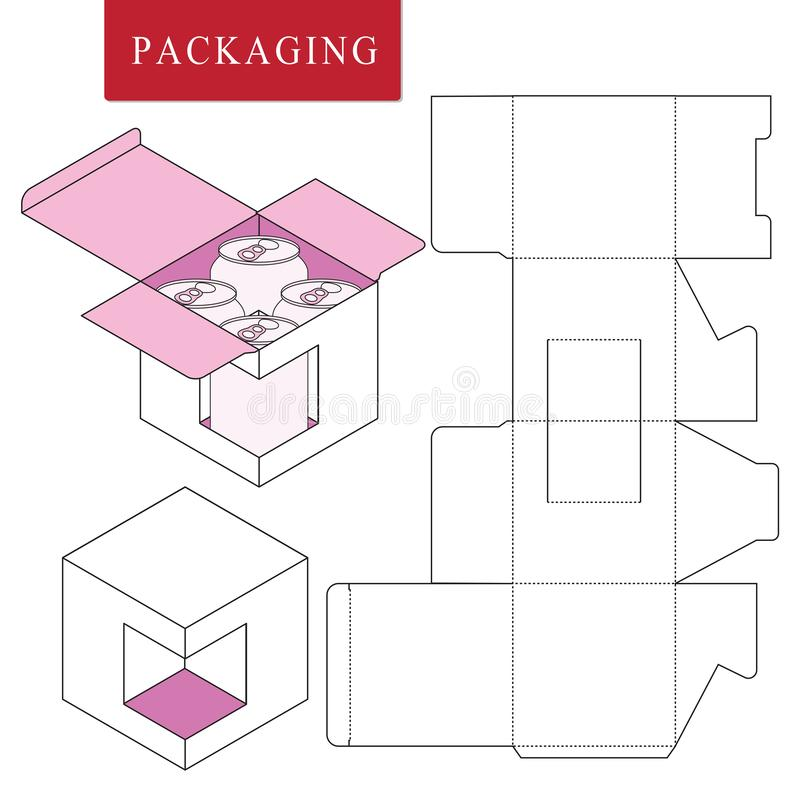 Packaging for can bottle.Isolated White Retail Mock upVector Illustration of Box. stock illustration