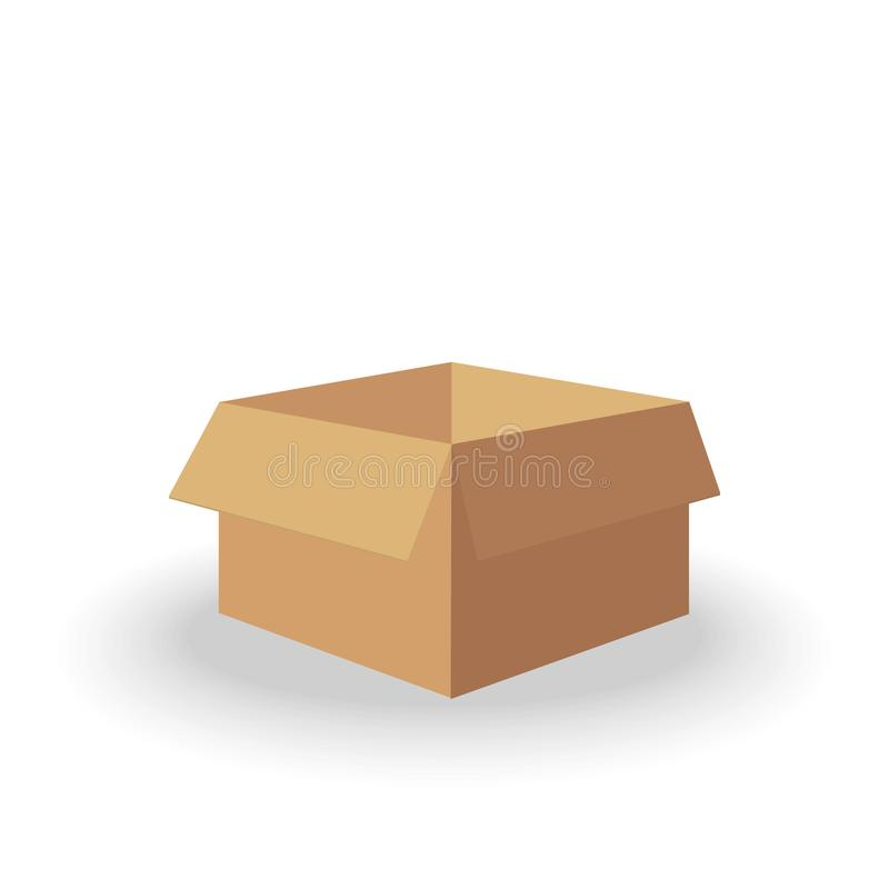 Packaging cardboard open box in isometry isolated on white background for delivery service or gift container royalty free illustration