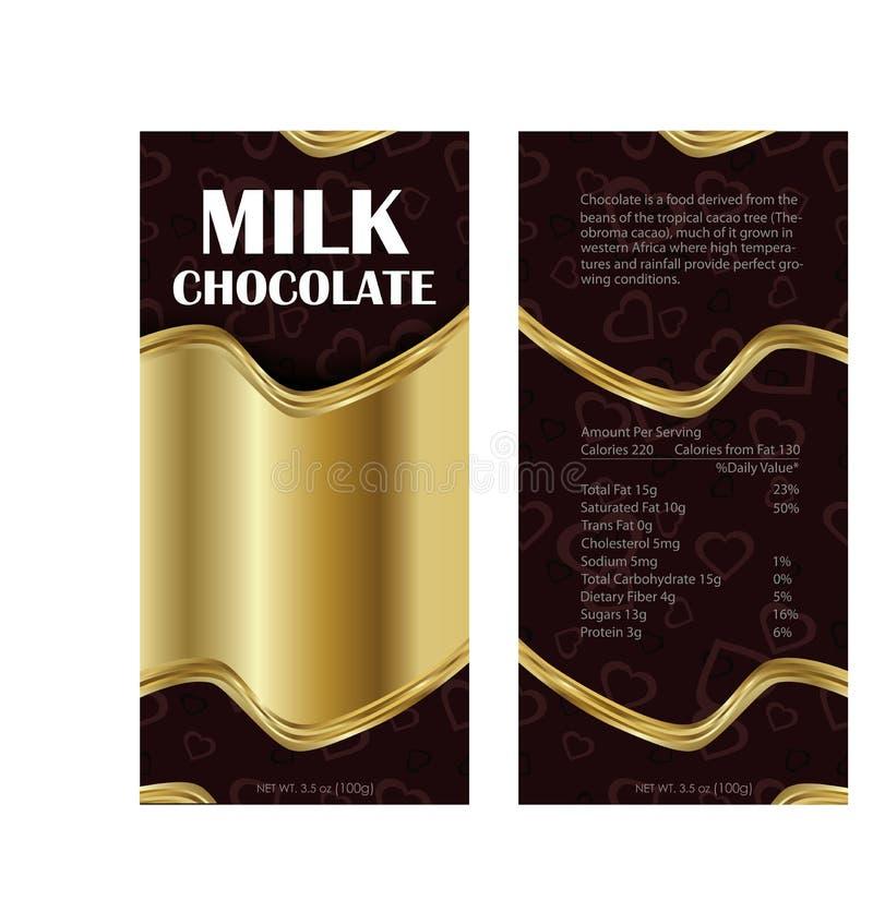 Packaging design chocolate. Gold pack design milk chocolate. vector illustration
