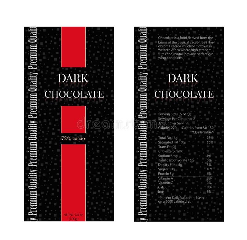 Packaging design chocolate. Vector illustration. Pack design dark chocolate. stock illustration