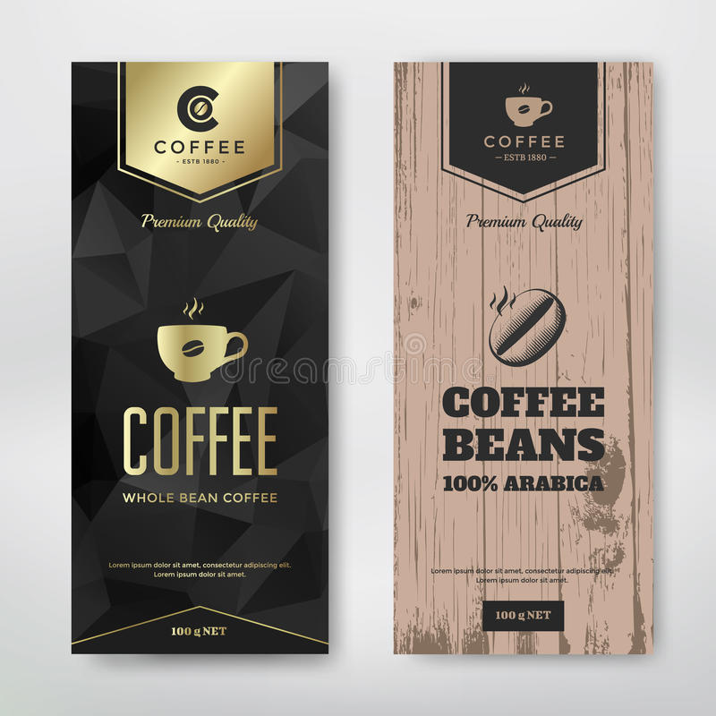 Packaging design coffee. Packaging design for a coffee. Vector template. Modern and vintage style royalty free illustration