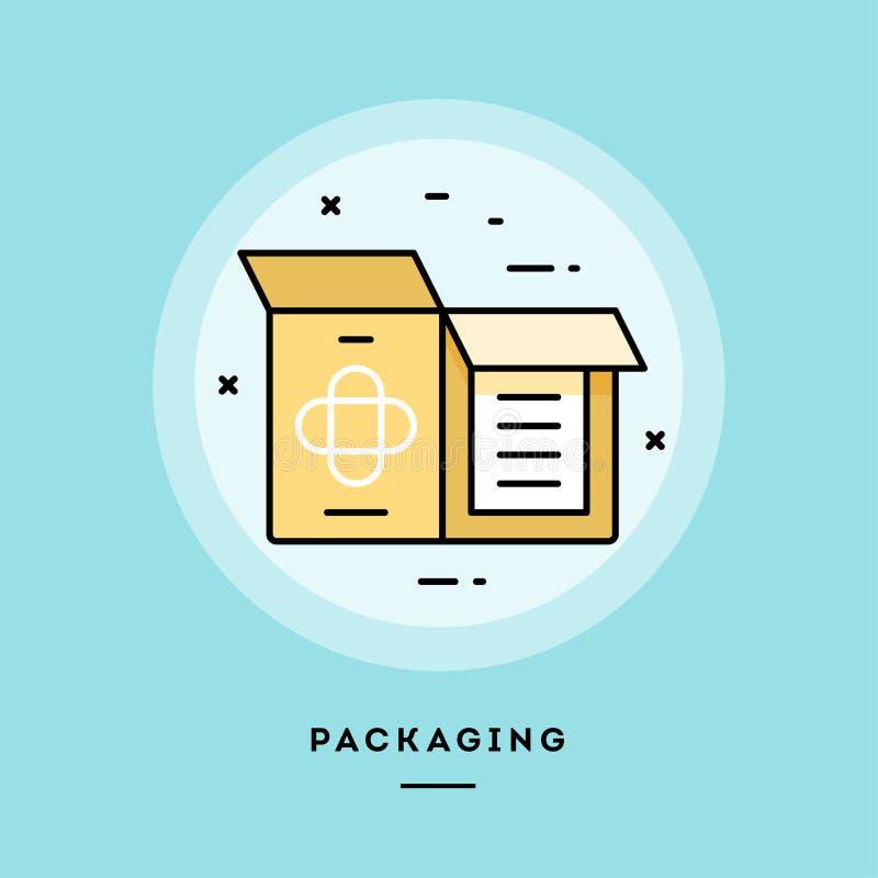 Packaging, flat design thin line banner. Vector illustration. stock illustration