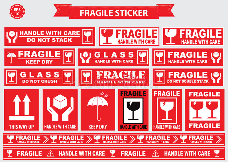 Packaging Or Fragile Stickers Stock Illustration - Image ...