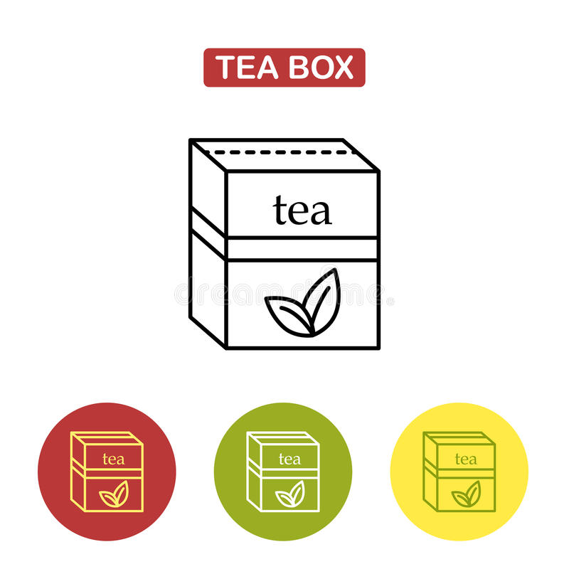 Packaging for herbal tea or spices. The box for your logo and design. Tea packed in a paper bag. Trendy vector Illustration isolated for graphic and web design royalty free illustration
