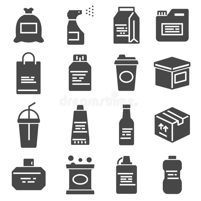 Packaging, icons set. For packaging products and materials, vector illustration. Jars, bottles and containers royalty free illustration