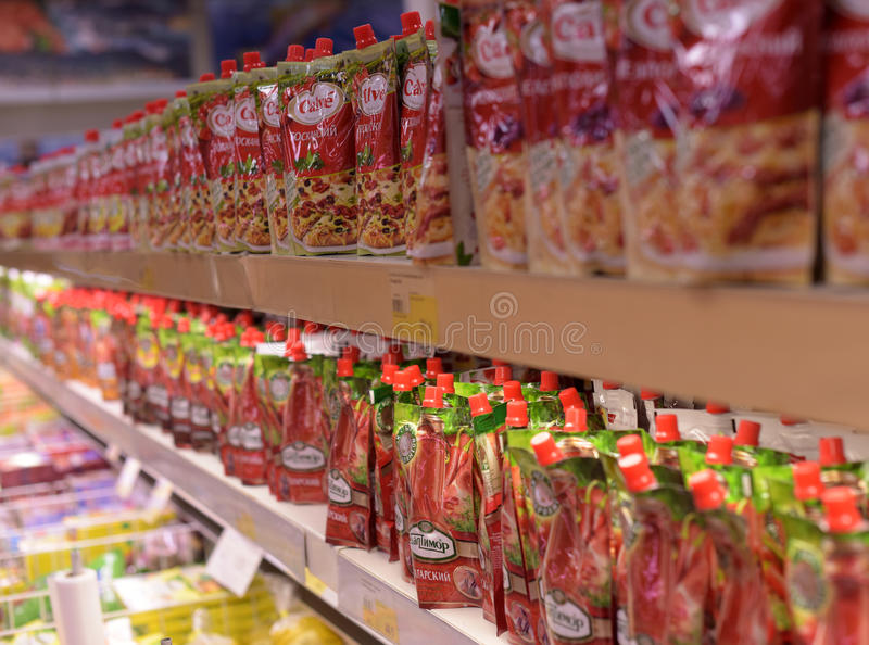 Packaging with ketchup in the store royalty free stock photos