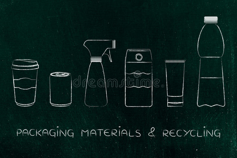 Packaging & recycling, mixed products. Packaging & recycling concept: set of bottles and plastic products royalty free illustration