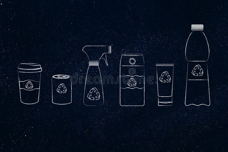 Packaging & recycling, mixed products. Packaging & recycling concept: set of bottles and plastic products, with symbol vector illustration