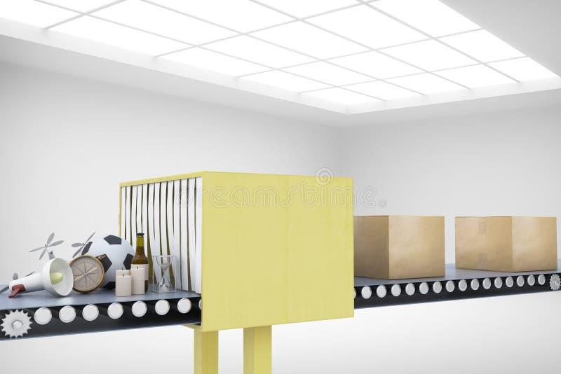 Packaging service and parcel transportation system concept stock illustration