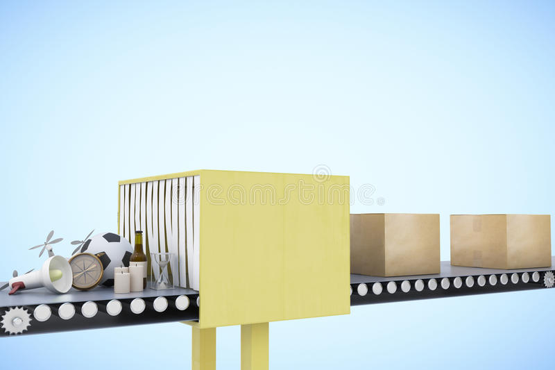 Packaging service and parcel transportation system concept royalty free illustration