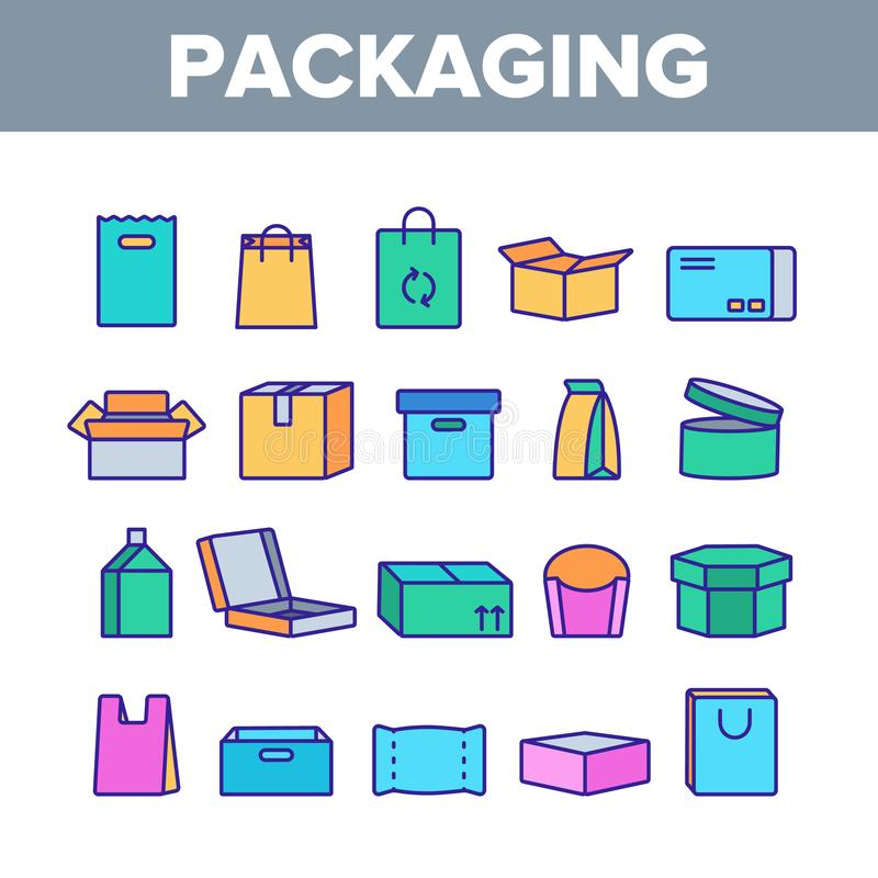 Packaging Types Vector Color Line Icons Set vector illustration