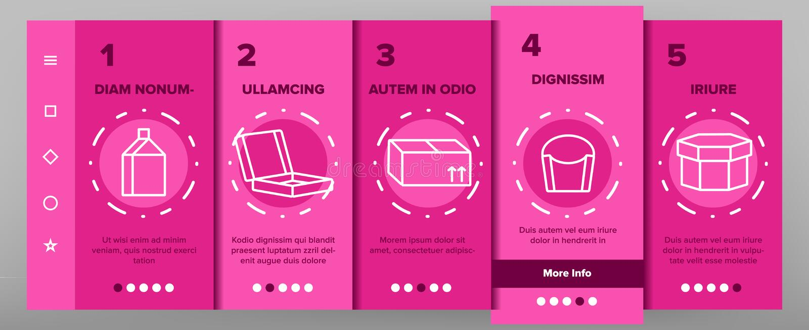 Packaging Types Vector Color Onboarding vector illustration