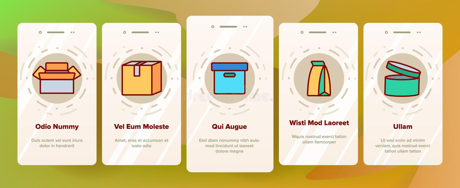 Packaging Types Vector Color Onboarding. Packaging Types Vector Onboarding Mobile App Page Screen. Packaging Boxes, Shopping Bags. Cardboard, Paper, Recyclable vector illustration