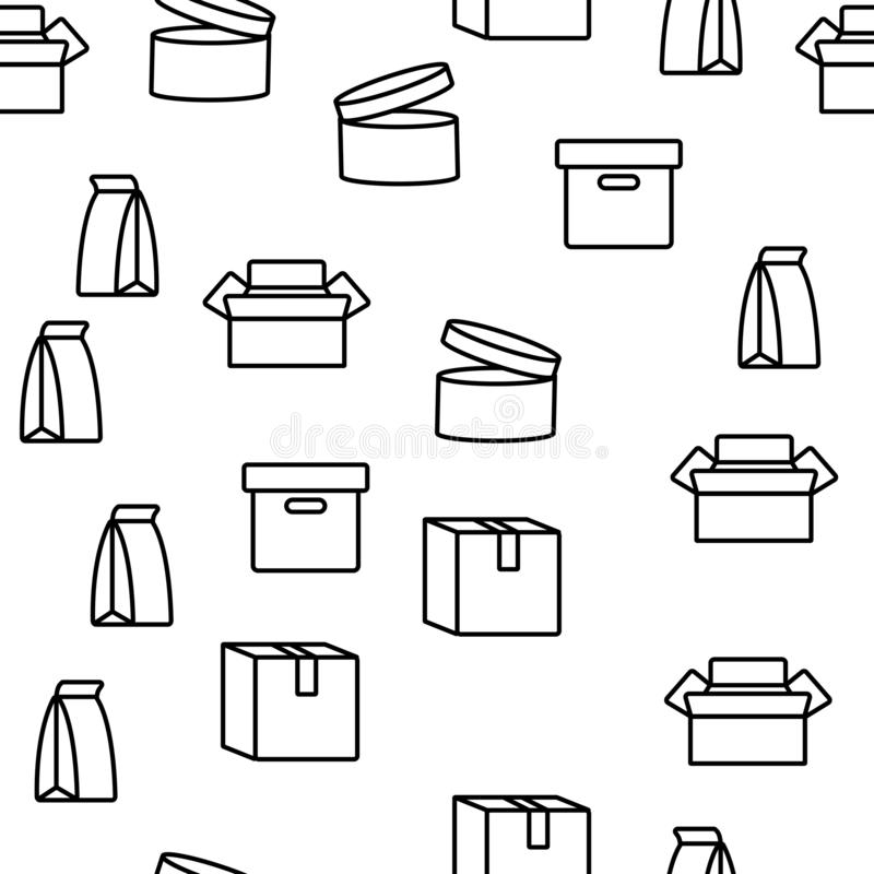 Packaging Types Vector Seamless Pattern. Thin Line Illustration stock illustration