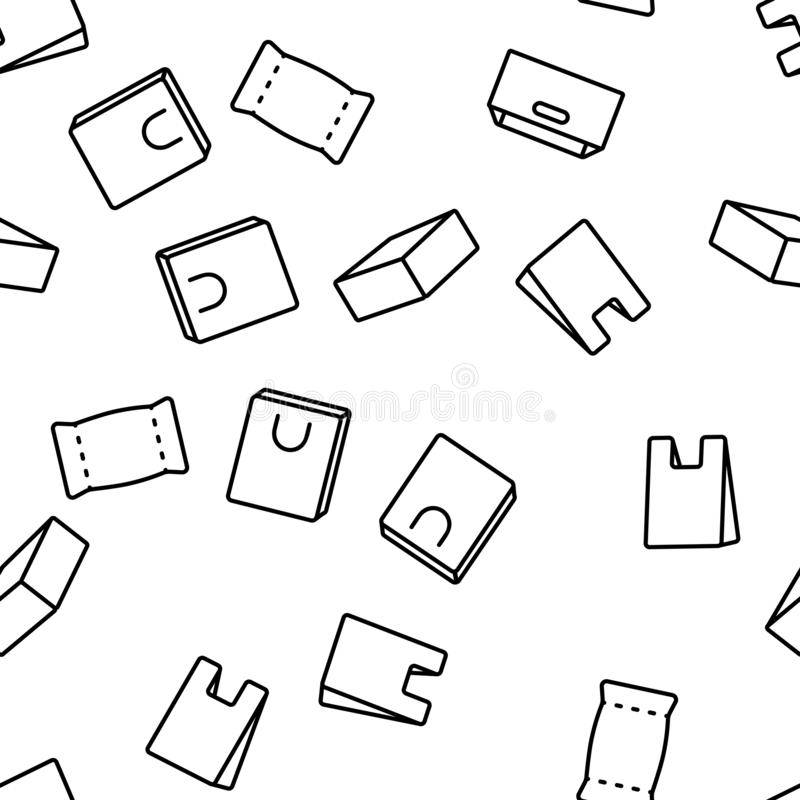 Packaging Types Vector Seamless Pattern. Thin Line Illustration royalty free illustration