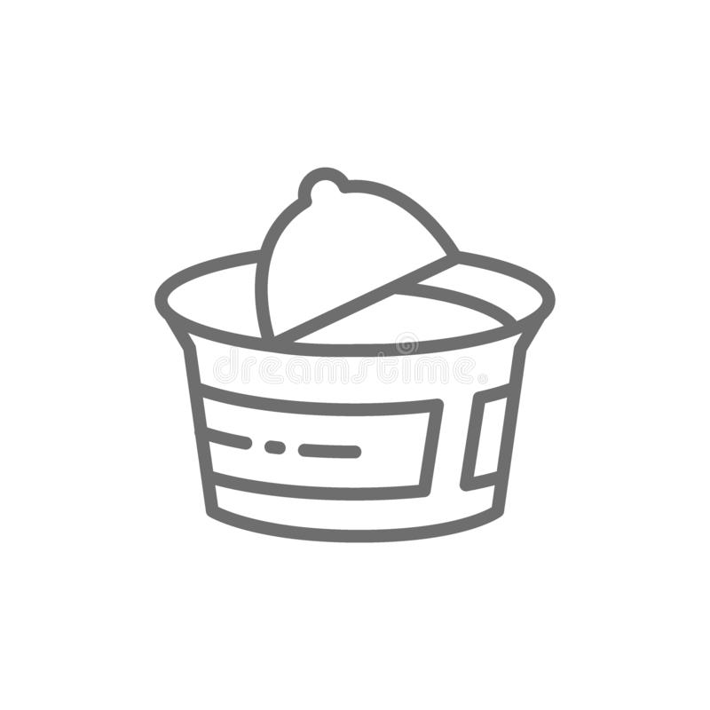 Packaging for yogurt, sour cream, cottage cheese line icon. Vector packaging for yogurt, sour cream, cottage cheese line icon. Symbol and sign illustration royalty free illustration