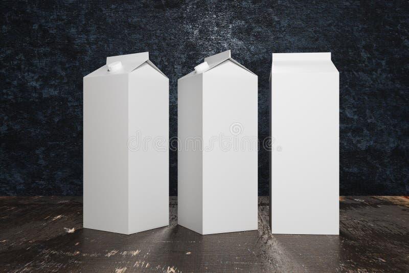 Packagings brancos vazios do leite/suco ilustração do vetor