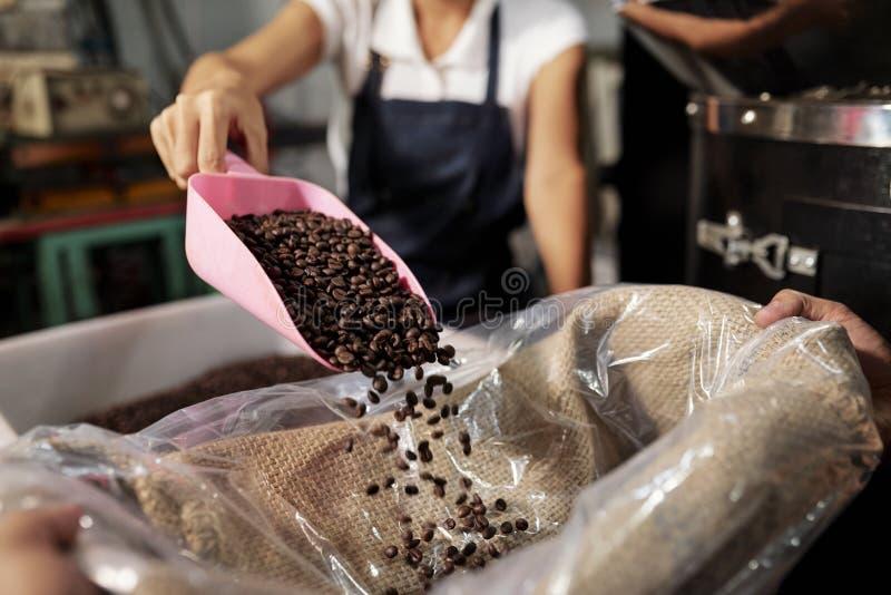 Packande kaffe in i p?se arkivbild