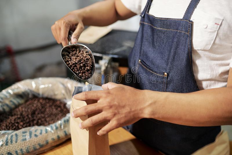 Packande kaffeb?nor i p?se royaltyfri foto