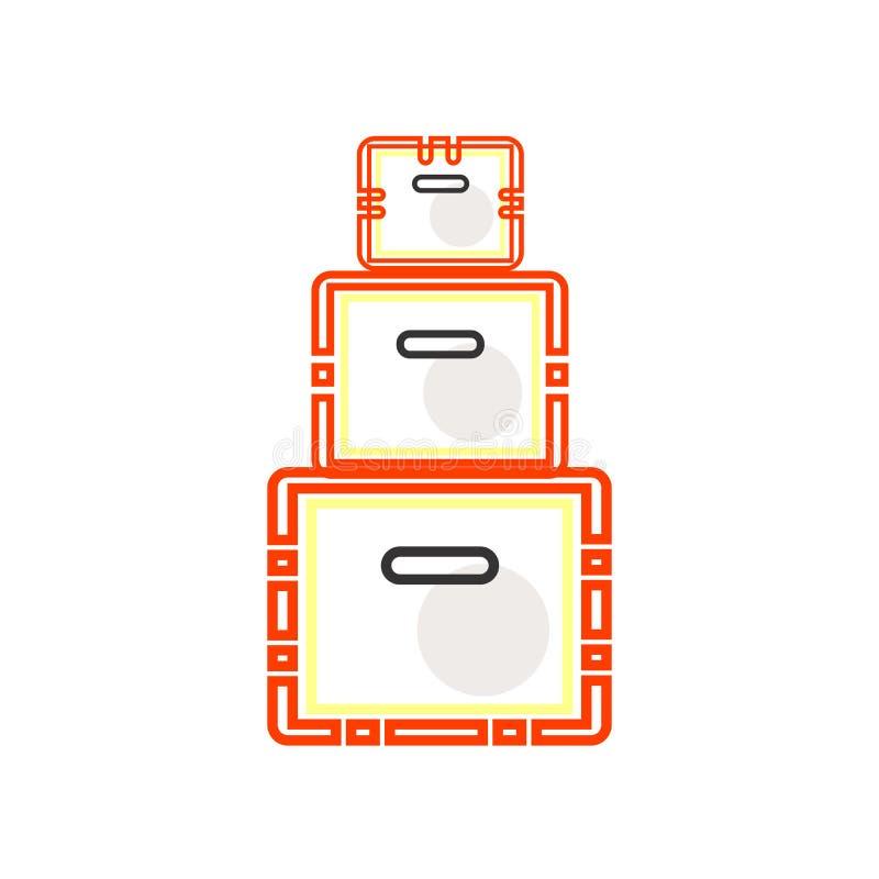 Packande symbolsvektortecken och symbol som isoleras på vit bakgrund, packande logobegrepp vektor illustrationer