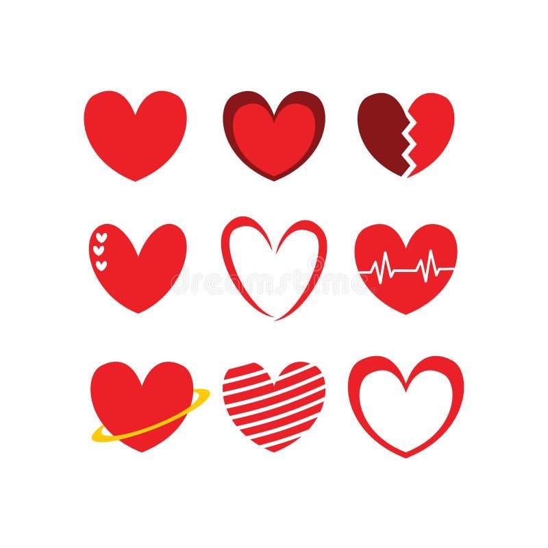 Packar för begrepp för logo för illustrationer för förälskelse-/hjärtasymbolstecken royaltyfri illustrationer