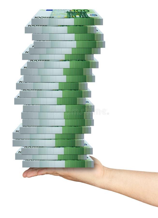 Packar för handinnehavhög av 100 eurosedlar arkivfoto