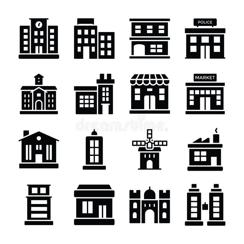 Packar fasta symboler för byggnader royaltyfri illustrationer