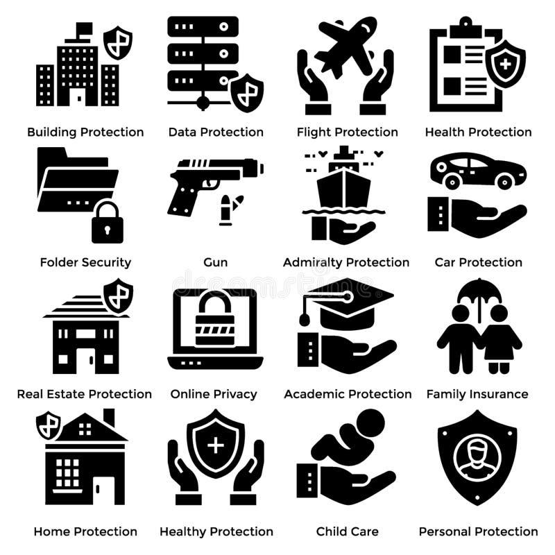 Packar fasta symboler för skydd vektor illustrationer