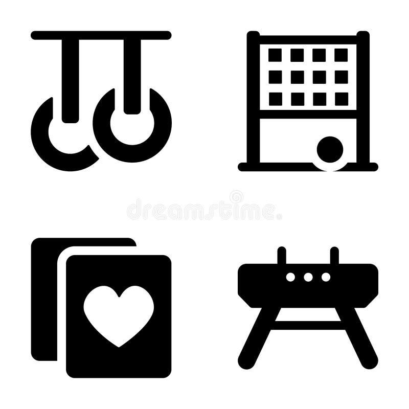Packar fasta symboler för sportar stock illustrationer