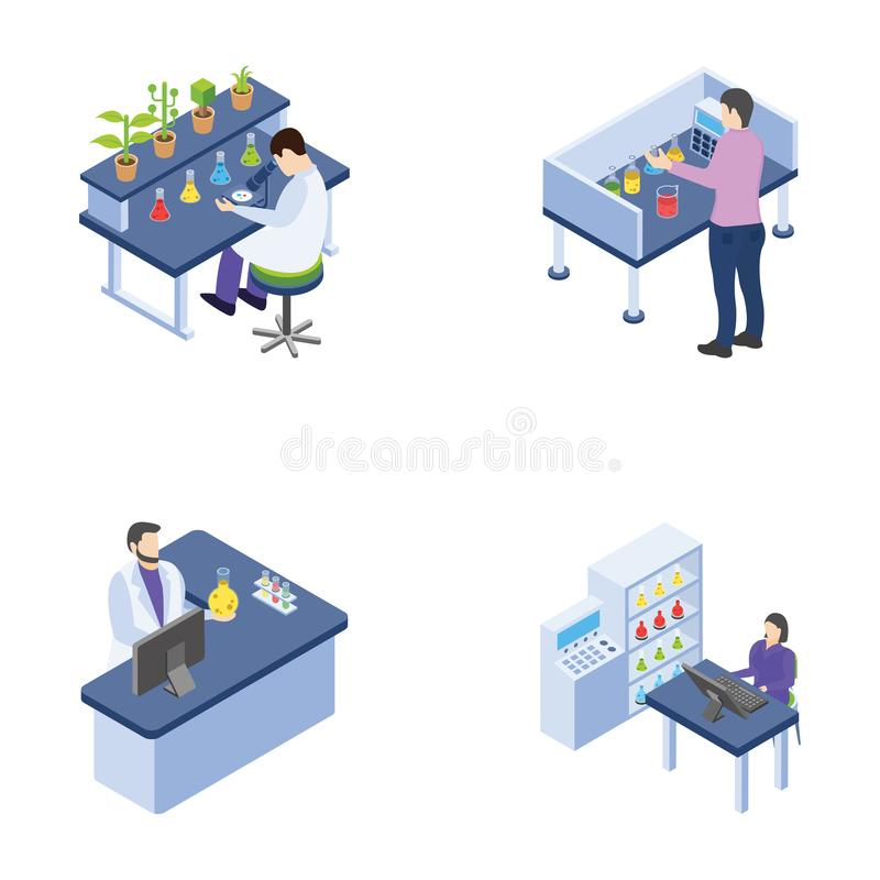 Packar isometriska symboler för vetenskapliga laborationer royaltyfri illustrationer
