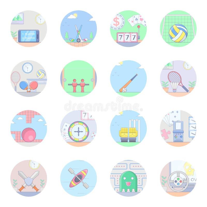 Packar plana symboler för sportar stock illustrationer