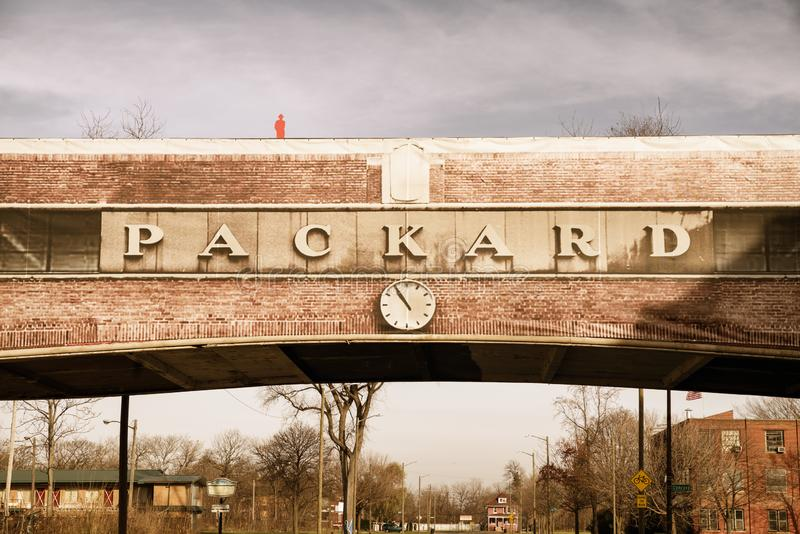 Packard Automotive Plant is a former automobile-manufacturing factory in Detroit, Michigan, USA. Detroit, Michigan, USA - November 23, 2018: The Packard stock image