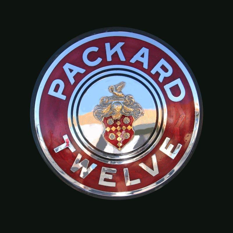 Packard Dwanaście chromu art deco Klasyczna odznaka obrazy royalty free