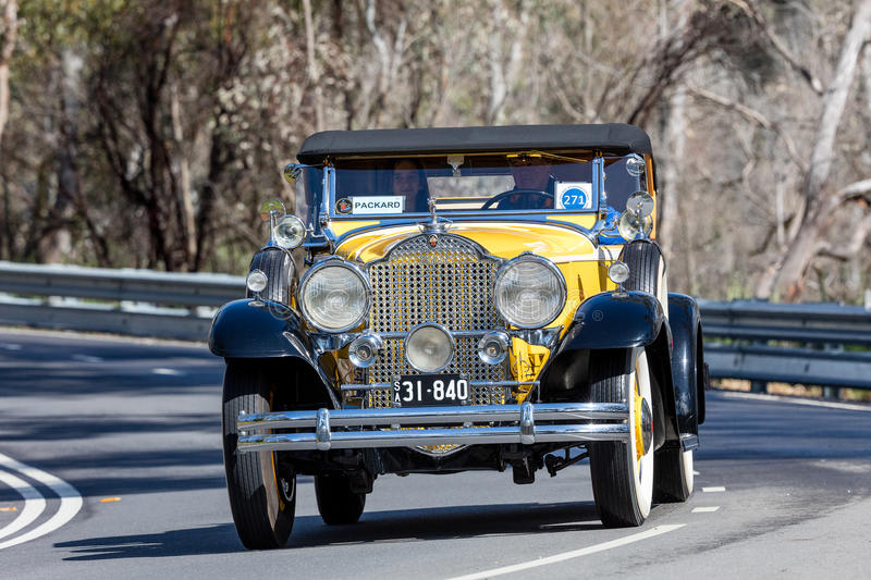 1931 Packard 840 Roadster. Adelaide, Australia - September 25, 2016: Vintage 1931 Packard 840 Roadster driving on country roads near the town of Birdwood, South stock photo