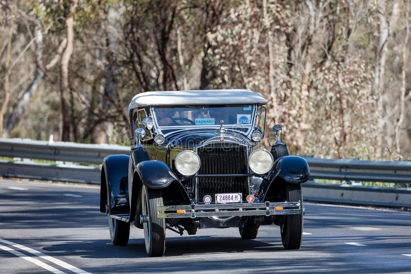 1929 Packard 633 roadster. Adelaide, Australia - September 25, 2016: Vintage 1929 Packard 633 roadster driving on country roads near the town of Birdwood, South stock image