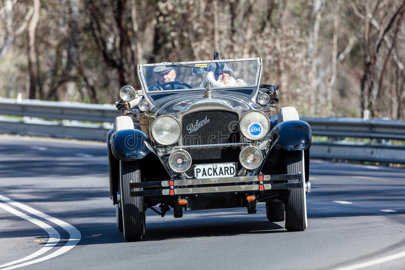 1929 Packard 640 Roadster. Adelaide, Australia - September 25, 2016: Vintage 1929 Packard 640 Roadster driving on country roads near the town of Birdwood, South stock photography