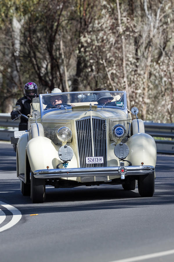 1936 Packard 120 Roadster. Adelaide, Australia - September 25, 2016: Vintage 1936 Packard 120 Roadster driving on country roads near the town of Birdwood, South royalty free stock photography