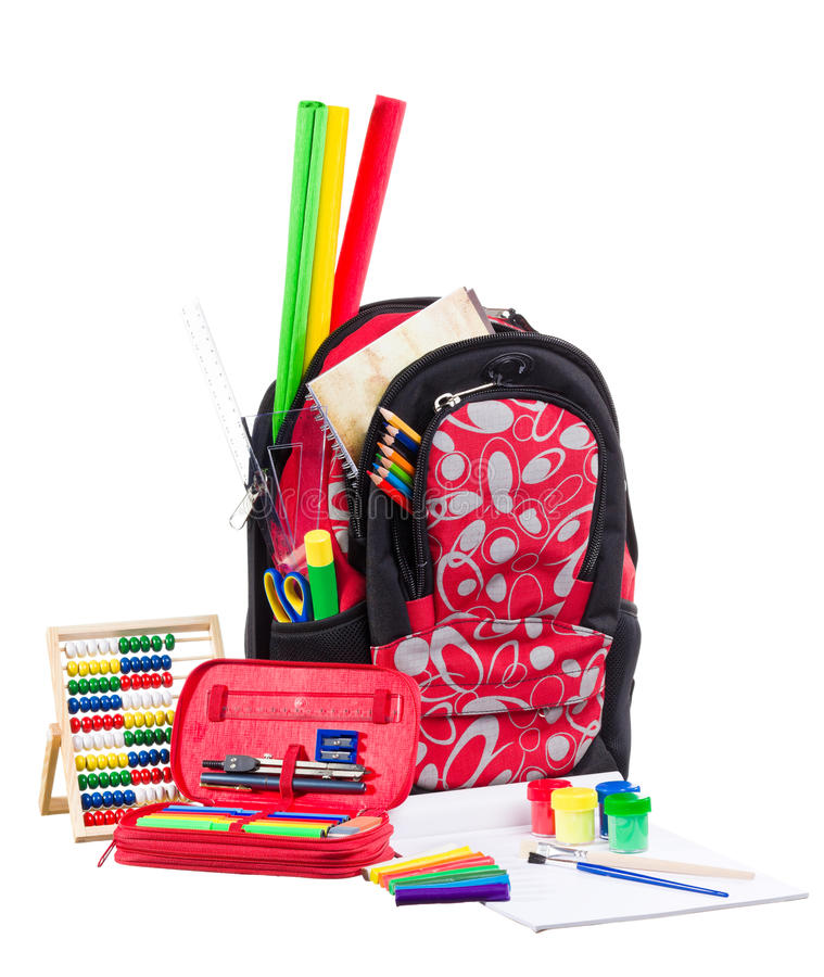 Packback preto e vermelho com fontes de escola imagem de stock royalty free