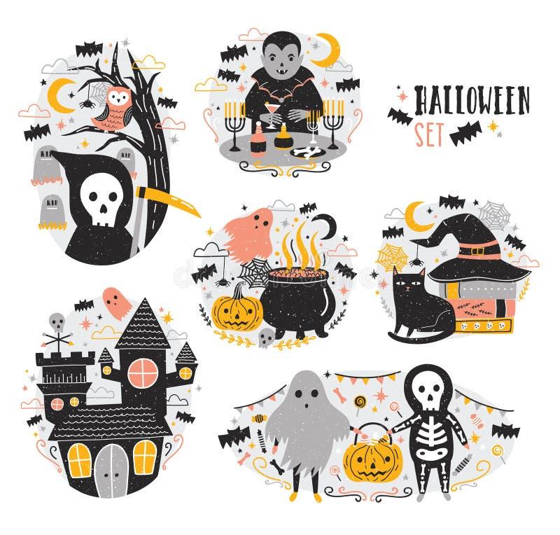 Packe av allhelgonaaftonplatser med roliga och spöklika tecknad filmtecken - vampyr, spöke, skelett, grym skördemaskin, pumpa royaltyfri illustrationer