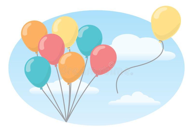 Packe av ballonger mot himmel royaltyfri illustrationer