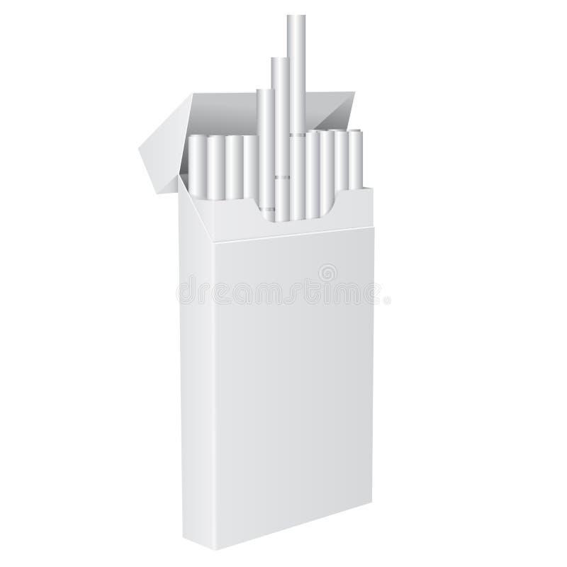 Packe av cigaretter Öppen packe för mellanrum stock illustrationer