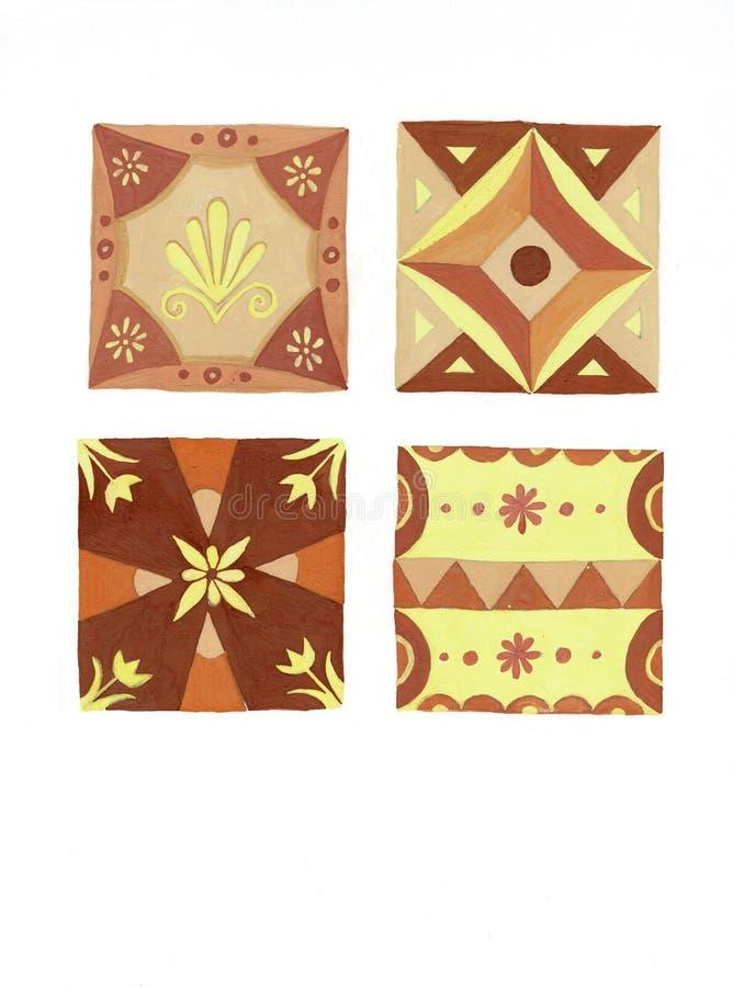 Packe av dekorativa fyrkantiga keramiska tegelplattor med olika traditionella blom- orientaliska modeller St?ll in av medelhavs- vektor illustrationer