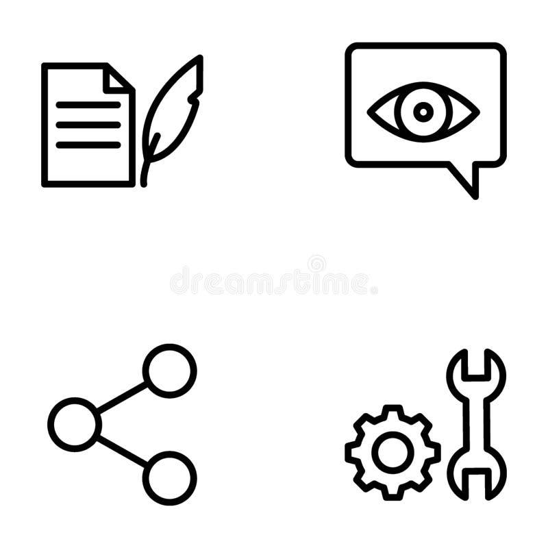 Packe av den Seo och rengöringsduklinjen vektorer stock illustrationer