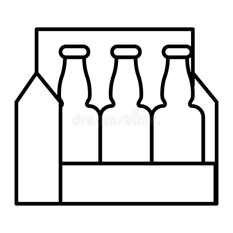 Packe av den tunna linjen symbol för öl Illustration för ölaskvektor som isoleras på vit Design för stil för ölfallöversikt som p stock illustrationer